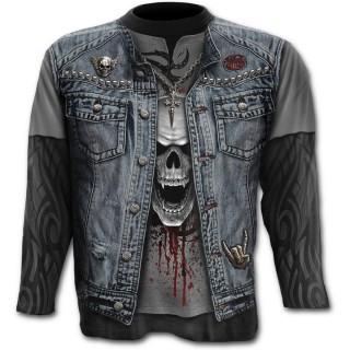 T-shirt gothique homme à manches longues imitation tenue Trash Métal