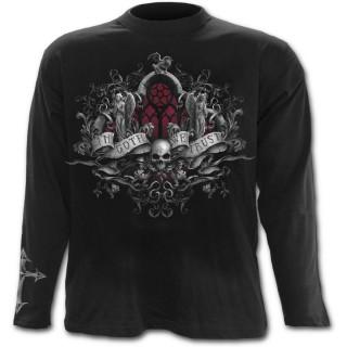 """T-shirt gothique homme à manches longues """"In Goth we trust"""" avec anges et tête de mort"""