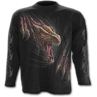 """T-shirt gothique homme à manches longues """"Libérez le dragon qui sommeil en vous"""""""