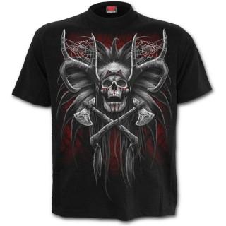 T-shirt gothique homme avec chef indien et crane hybride