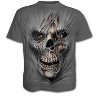 T-shirt gothique homme gris avec visage cousu dans le vêtement