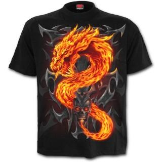 T-shirt gothique noir pour enfant avec dragon de flamme et crane