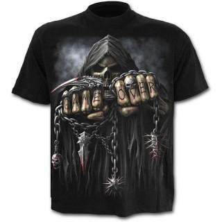 T-shirt gothique noir pour enfant avec la Mort à chaine de combat