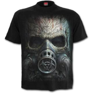 T-shirt homme à crane avec masque à gaz biohazard