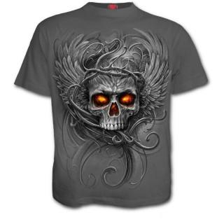T-shirt homme à crane avec racine de l'enfer et ailes d'ange