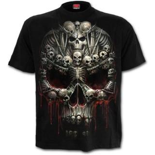 T-shirt homme à crane formé d'ossements et croix gothique