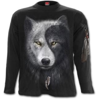T-shirt homme à manches longues avec loups et attrape rêve inspiration Yin et Yang