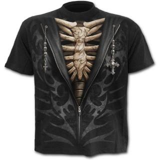T-shirt homme avec dessin imitation sweat-shirt dézippé sur squelette