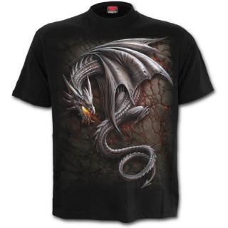 T-shirt homme avec dragon gris sur lave craquelée