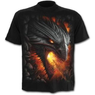 T-shirt homme avec sombre dragon de feu et symbole tribal