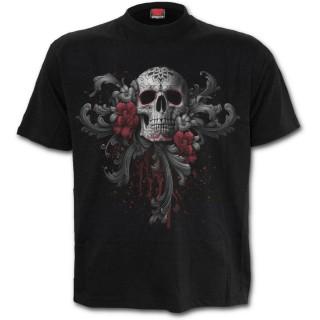 achat t shirt homme avec t te de mort femme masqu e et roses pas cher. Black Bedroom Furniture Sets. Home Design Ideas