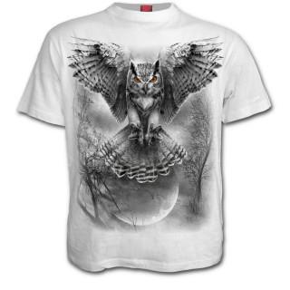 T-shirt homme blanc à hibou en chasse et pleine lune