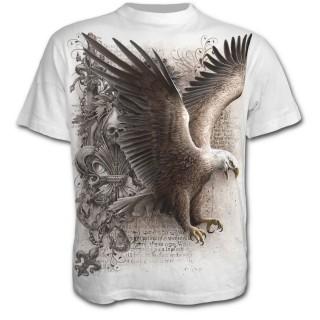 T-shirt homme blanc avec aigle, fleur de lys et crane