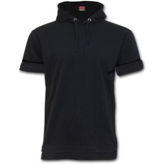 T-shirt homme goth-rock à manches courtes et capuche