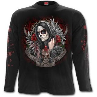T-shirt homme gothique à manches longues avec ange de ma mort masquée et tatouée