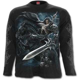 T-shirt homme gothique à manches longues avec cavalier de La Mort sur son cheval noir