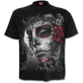 T-shirt homme gothique avec femme masquée et roses style Calavera