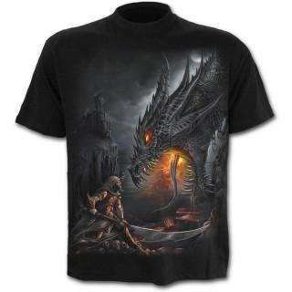 T-shirt homme gothique avec guerrier à halbarde combattant un dragon
