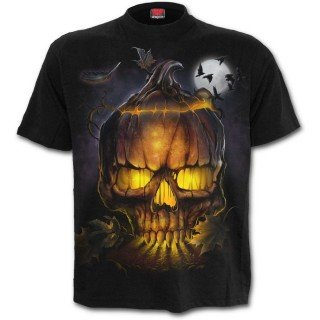 T-shirt homme gothique avec sorcière tenant un crane en citrouille