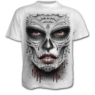 achat t shirt homme gothique blanc avec masque catrina. Black Bedroom Furniture Sets. Home Design Ideas