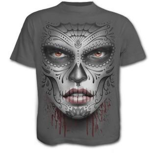T-shirt homme gothique gris avec masque Catrina Calavera et crane avec rose