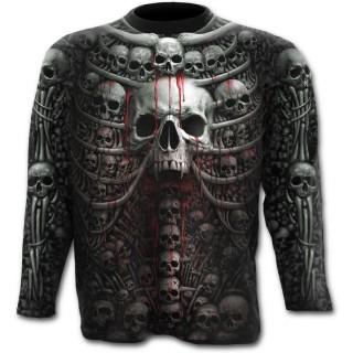 T-shirt homme gothique manches longues à cage thoracique style catacombes