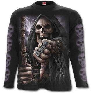 """T-shirt homme gothique manches longues avec La Mort """"BOSS REAPER"""""""