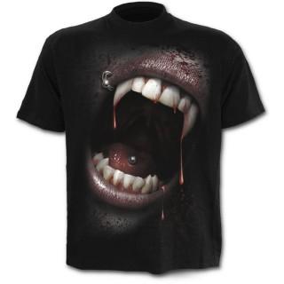 T-shirt homme noir à bouche de vampire et crane de sang