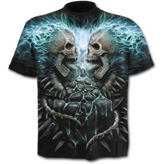 T-shirt homme noir à cranes en face à face et flammes bleues