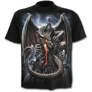 T-shirt homme noir à dragon crachant de la lave sur une église