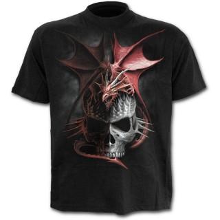 T-shirt homme noir à dragon rouge sur crane à pointes