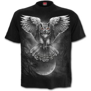 T-shirt homme noir à hibou en chasse et pleine lune