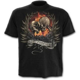 T-shirt homme noir à squelettes d'amoureux unis dans la mort
