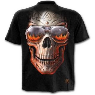 T-shirt homme noir à tête de mort tribale avec lunettes