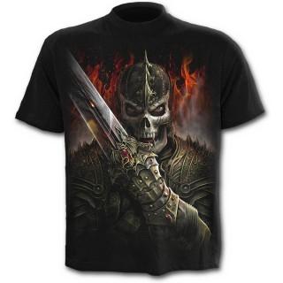 T-shirt homme noir avec guerrier dragon et scène de duel