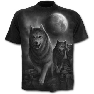 T-shirt homme noir avec meute de loups et pleine lune