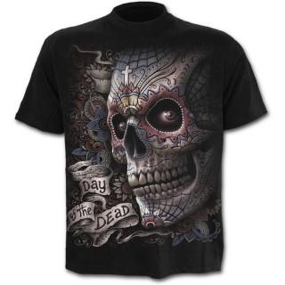 achat t shirt homme noir jour des morts avec t te de mort chapeau pas cher. Black Bedroom Furniture Sets. Home Design Ideas