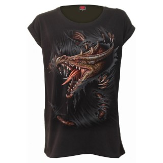 Tee shirt femme à dragon déchirant le vêtement