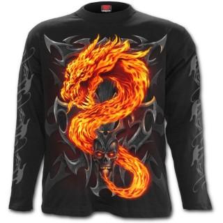 Tee shirt gothique homme à manches longues avec dragon de flamme et crane