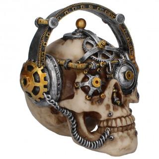 Tête de mort déco steampunk à casque musique (14,5cm)