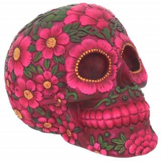 Tête de mort mexicaine à fleurs (14,5cm)