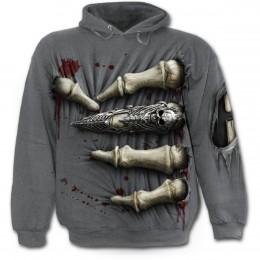 120f013764fce Sweat-shirt gothique homme ensanglanté traversé d'une main squelette