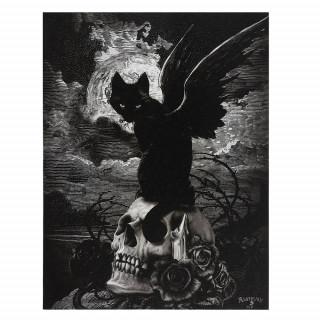 Toile canevas à chat noir ailé sur crane - Alchemy (19x25cm)