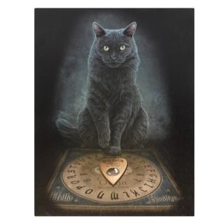 Toile canevas à chat noir et ouija - Lisa Parker (19x25cm)