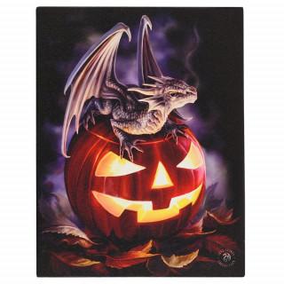 Toile canevas à Dragon et Citrouille d'halloween - Anne Stokes (19x25cm)