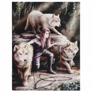 Toile canevas à femme aux loups - Anne Stokes (19x25cm)