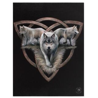 Toile canevas à Triquetra et trio de Loups - Anne Stokes (19x25cm)