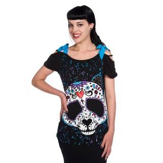 Top femme goth-rock Banned à tête de panda style crane de sucre