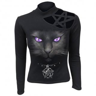 Top femme manche longue à chat noir et pentagramme ajouré