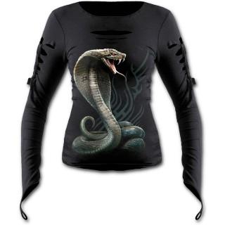 Top femme manches longues à serpent cobra sur fond tribal